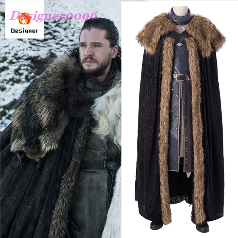 2019 nouveau jeu de trônes saison 8 Jon Snow Cosplay Costume acteur de film avec le même Costume adulte ensemble 1:1 restauration film COS