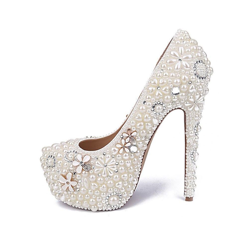 MA0435 di Nuovo Modo Bianco Perla di Acqua di Fiori di Diamanti Bianco Ultra Tacchi alti Impermeabile Damigelle Scarpe Da Donna Pompe - 3