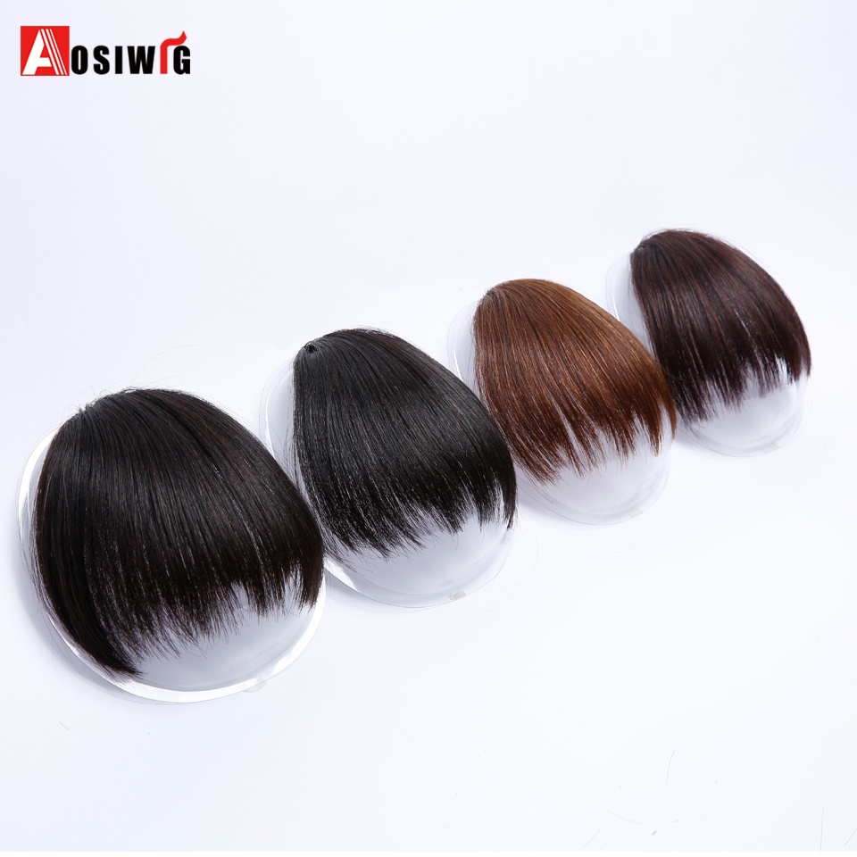 Short Fake Hair Bangs Heat Resistant Synthetic Hairpieces Clip In Hair Extensions For Women Bangs Hairstyles AOSIWIG
