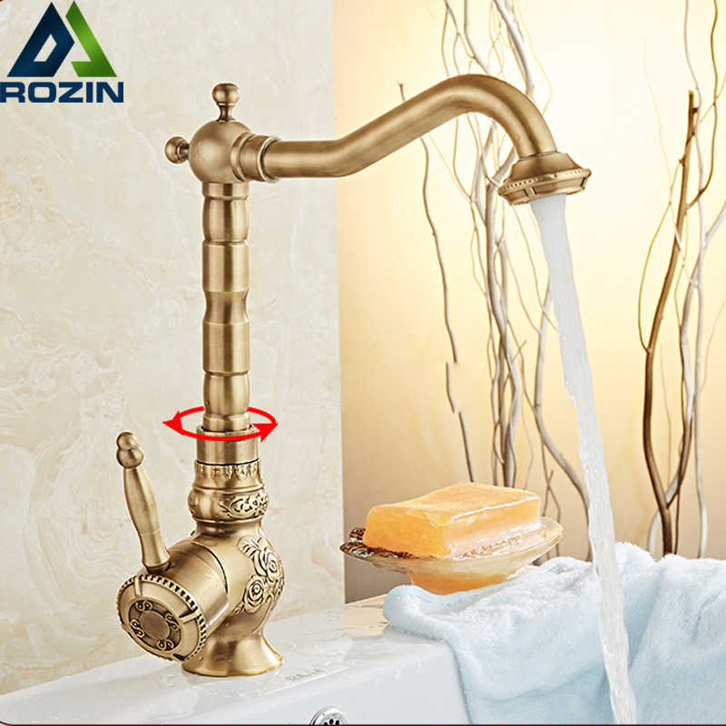 Retro Style Carved Bathroom Sink Mixer Faucet Single Handle Rotate Spout Kitchen Washing Basin Taps Deck Mounted antique copper swivel spout kitchen sink faucet single hole deck mounted dual handles bathroom basin mixer taps wnn013