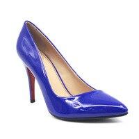 Spring Sexy Super High Heel Low Top Shoe Women Party Navy Blue Shallow Pumps Elegant Slip