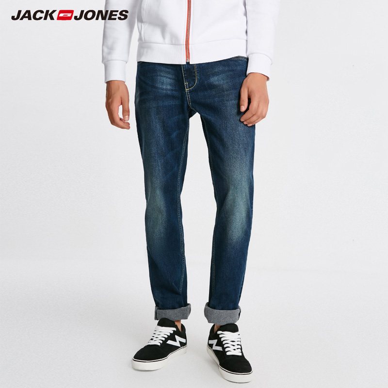 Jack Jones Men Warm Cotton Solid Straight Denim Trousers Biker Jeans | 218432505