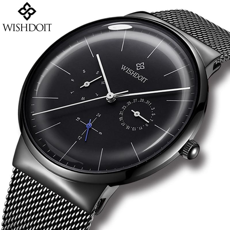 купить Reloj Mens Watches WISHDOIT Top Brand Luxury Men's Casual Fashion Business Watch Men Stainless Steel Waterproof Quartz Watch+Box по цене 1284.47 рублей