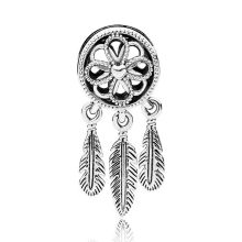 Authentic S925 Sterling Silver DIY Jewelry Spiritual Dream Catcher Dangle Charms fit Lady Bracelet Bangle(China)