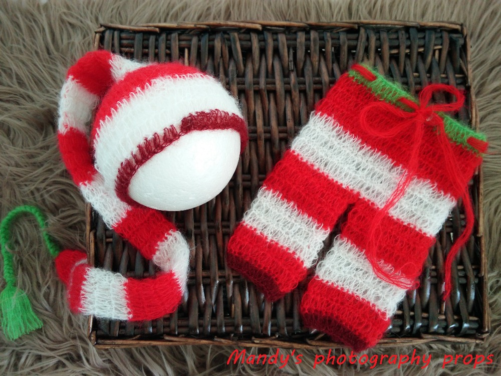 Newborn Christmas Outfit Christmas Baby Dress Set Knitted Baby Santa Claus Set Baby Santa Long tail Bonnet Hat christmas santa claus snowflake vintage plus size dress