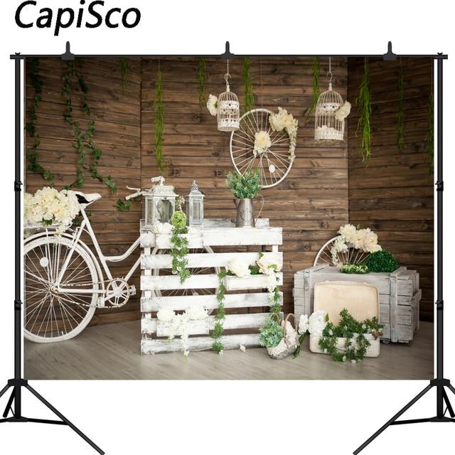 Capisco white bicycle Photogrpahy backdrops Wood floor flowers Photo background newborn shower backdrop wedding photo props