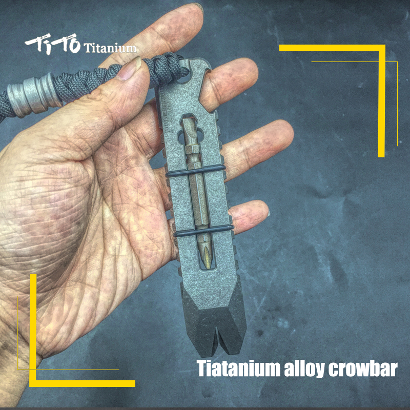 TiTo EDC titanium alloy crowbar multifunctional titanium crowbar opener outdoor tool screwdriver titanium TC21 crowbar big plastic crowbar
