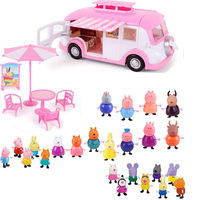 Peppa pig George Toys Car Dining Car Set Action Figure Original Anime toys for children Cartoon toys for children Birthday Gift