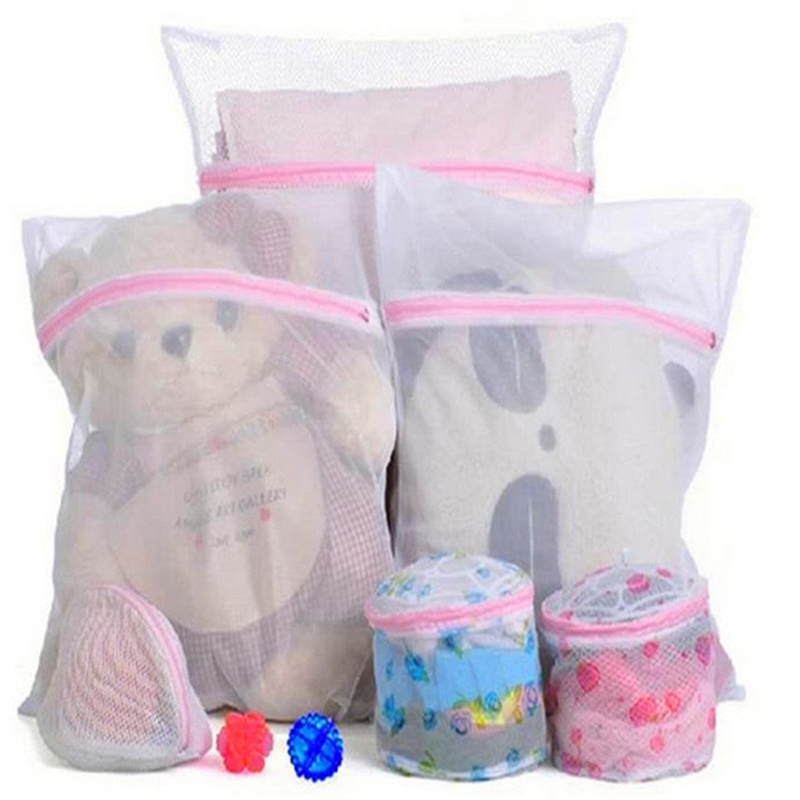 1Pc Zippered Mesh Laundry Wash Bags Foldable Delicates Lingerie Bra Socks Underwear Washing Machine Clothes Protection Net