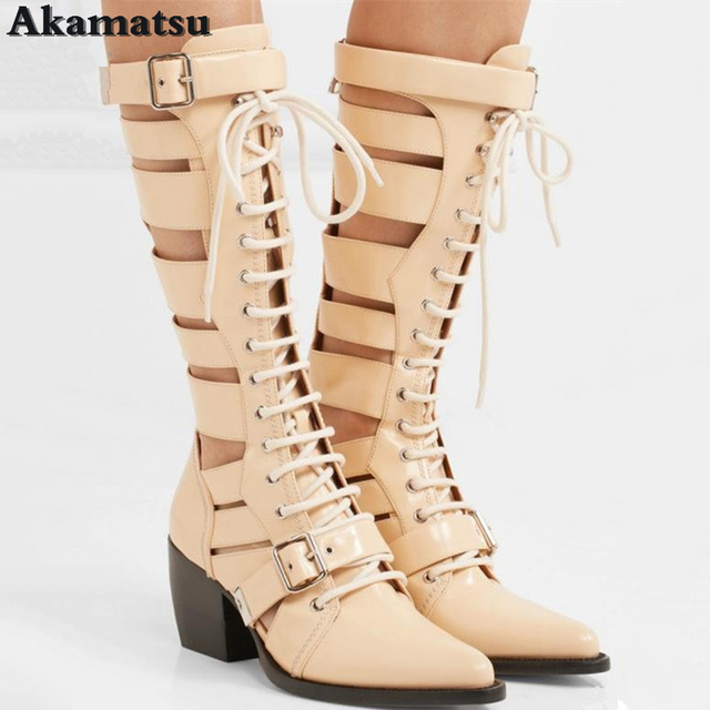 025bb614713f Punk Snakeskin Print Thigh High Boots or White Black S Boots Women Akamatsu  Summer Lace up Chunky High Heels Mid-Calf Boots