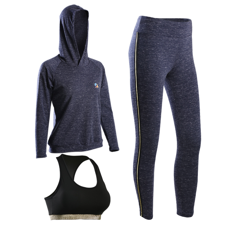 VERZY 2018 new arrivals 3 pieces yoga set hoodie+bra+pants with gold line women running gym suit female sportswear slim fitness все цены