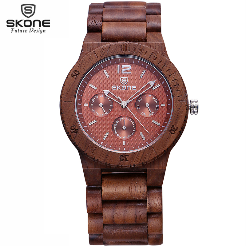 SKONE Functional Male Natural Wooden Watches Men Antique Wood Watch Luxury Japan Movt Quartz Wristwatch relogio masculino 2017 skone relogio 9385