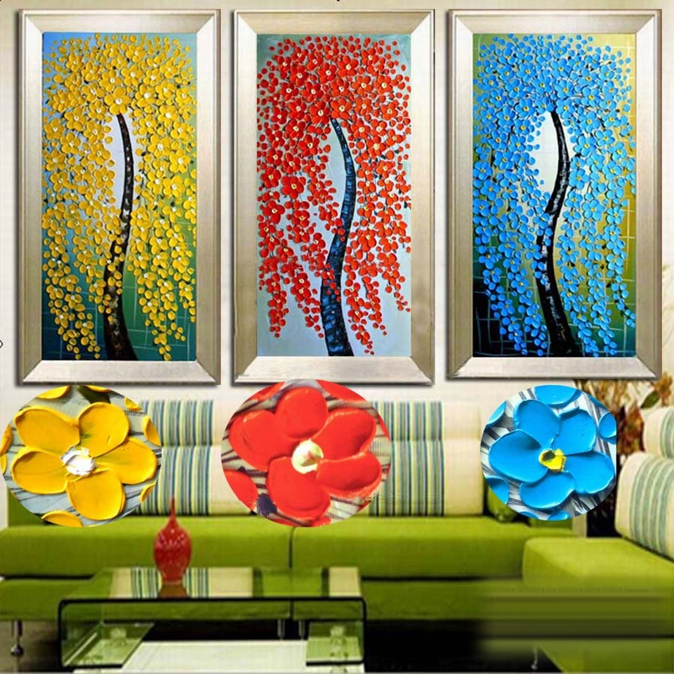 2016 Home Decor New Fashion Abstract Fortune Rich Tree 100 Handpainted font b Knife b font