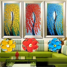 2016 Home Decor New Fashion Abstract Fortune Rich Tree 100% Handpainted Knife Thick Oil Painting On Canvas free Shipping