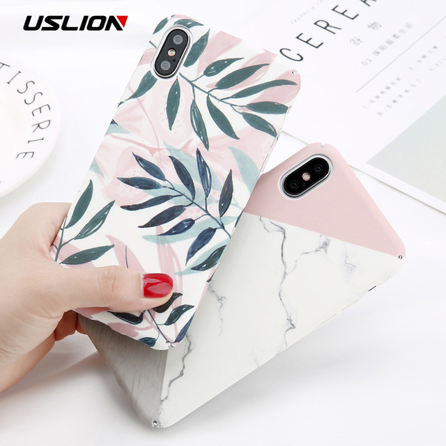 USLION Camellia Flower Leaf Marble Phone Case For iPhone X Cherry Rose Floral Case For iPhone 7 8 6 6S Plus Hard PC Cover Coque