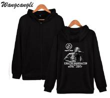 Wangcangli 2017 New Arrival Hiphop Sweatshirt For Woman Linkin Park Chester Fans Hooded Hoodies Zipper Cotton Casual Clothes