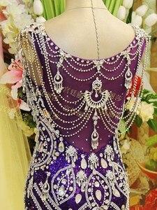 Image 5 - Женское вечернее платье с юбкой годе, фиолетовое платье с V образным вырезом и блестками, расшитое бисером, роскошное сексуальное платье для невесты, платье для выпусквечерние вечера JO3, 2020