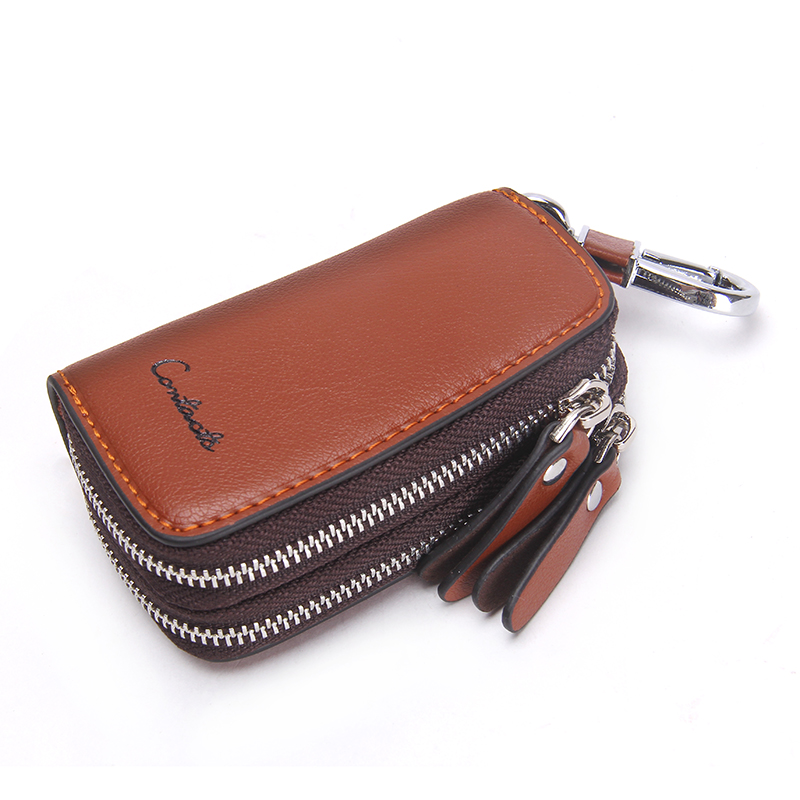 CONTACT'S Genuine Leather Car Key Wallets Fashion Key Holder Housekeeper Keys Organizer Double Zipper Keychain Case Key Pouch 3