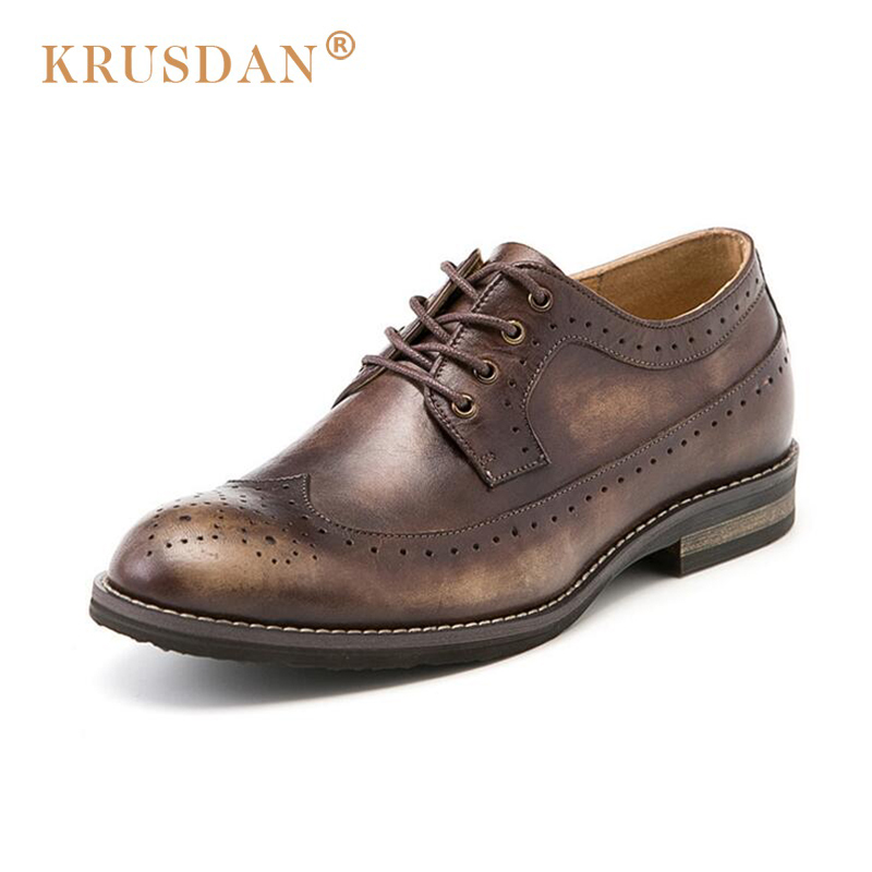 [KRUSDAN] Brand Design Luxury Mens Dress Shoes Genuine Leather Round Toe Retro British Bullock Style Shoes Men Flats For Office mens genuine leather oxfords shoes for men breathable stitching dress shoe british style casual flats oxford pointed toe zapatos