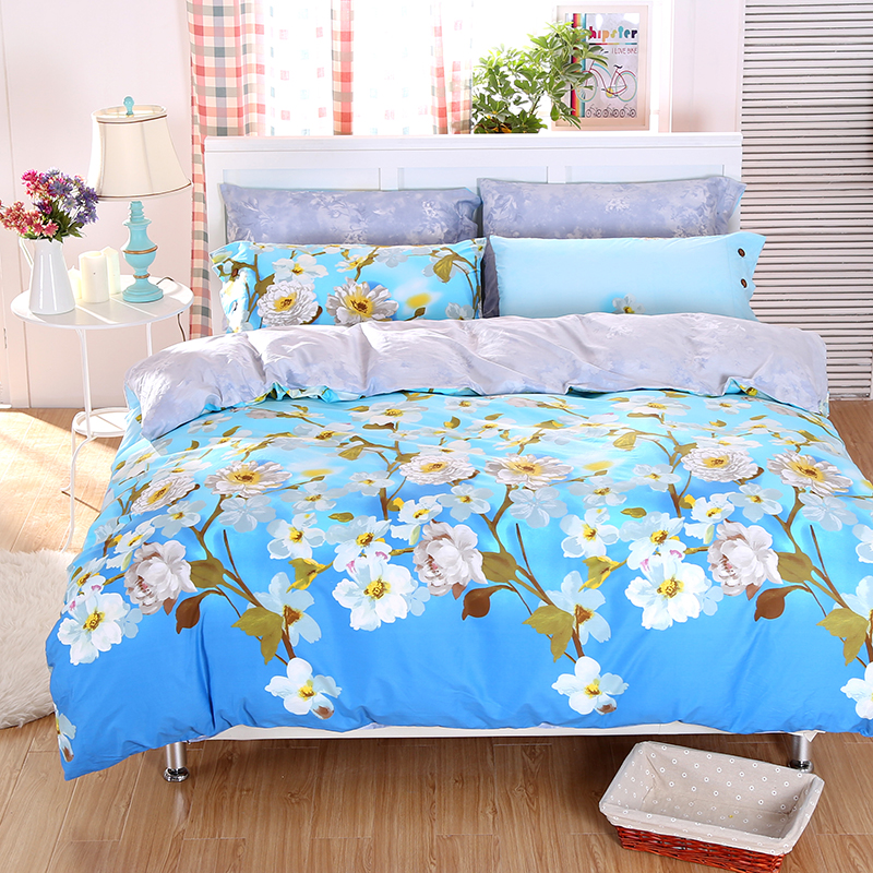 buy country style cherry blossom daisy bird plaid bedding sets twin queen king size duvet cover bed sheets pure cotton bed in a bag from