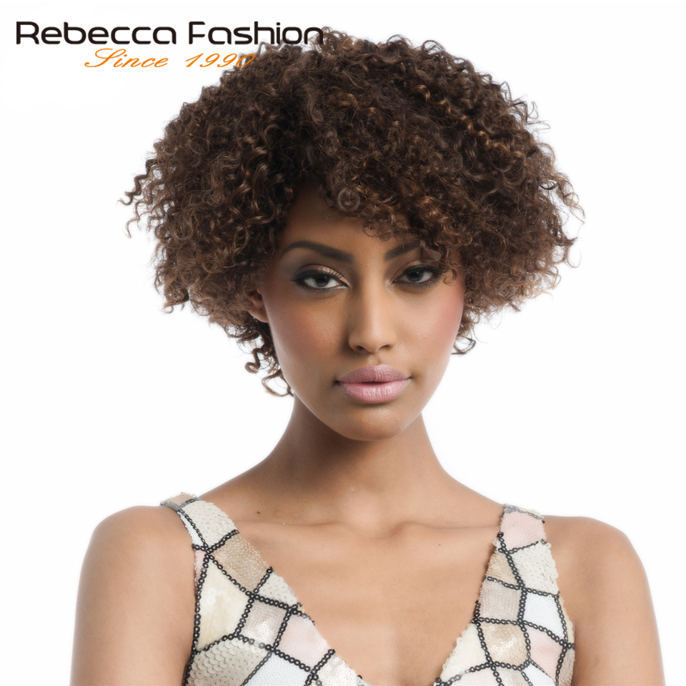 Rebecca Short Human Hair Wigs For Black Women Brazilian Remy Kinky Curly Hair Wig Dark Brown Color F4/30 Free Shipping