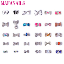 3D BowKnot Nail Art Decorations 10 pcs Silver Alloy Diy Diamond Glitter Bow With Colorful Charm Rhinestones DIY Nail Accessories
