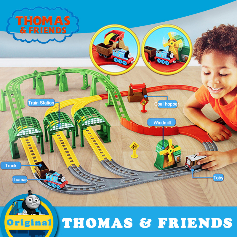 Original Thomas Electric Train Toy Plastic Railway Building Track Car Toy For Children Collection Train Thomas And Friends DNR41