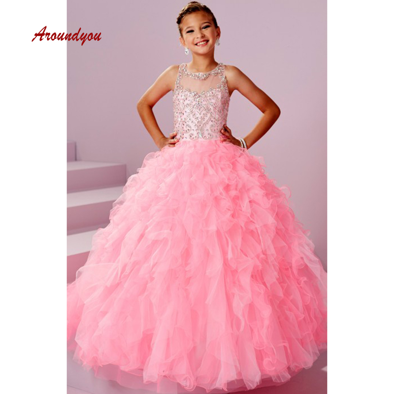 Pink Flower Girl Dress for Party and Weddings Pageant First Holy Comunion Girls Dress 2019