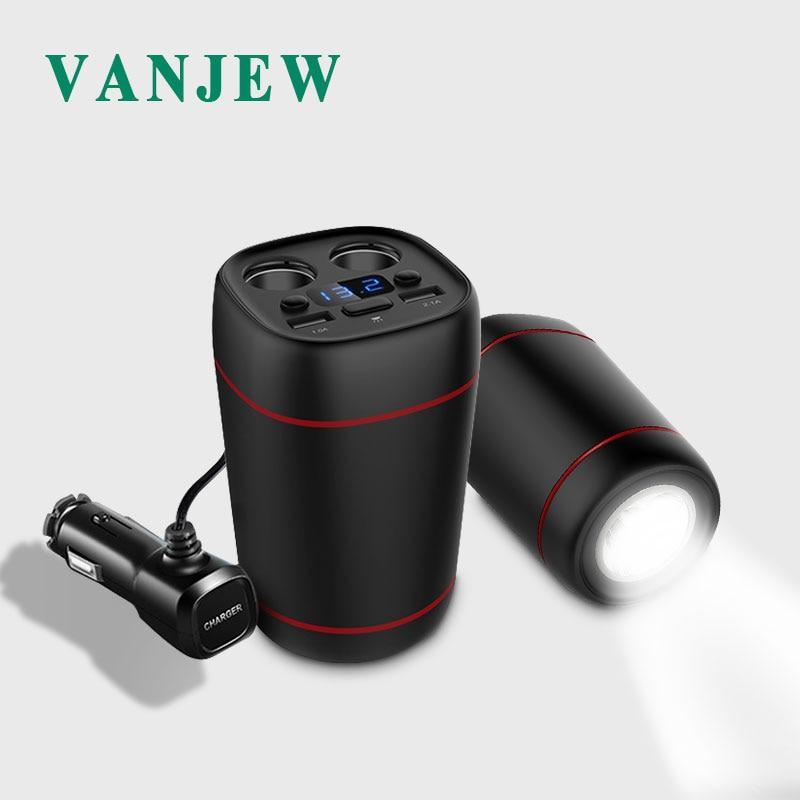VANJEW C33 Multi function Car Cigarette Lighter Cup 1800mAh Power Adapter 2 Sockets Adapter 2 USB