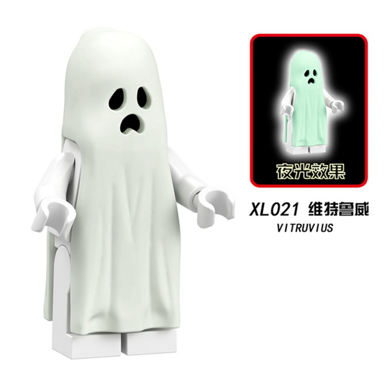 Legoings Ghost Series Luminous Vitruvius Figure Set Gloom In The Dark Sally Zombie Halloween Building Model Kits Bricks Toys