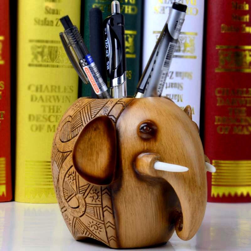 Statues décoratives d'éléphant de résine de porte-stylo d'éléphant