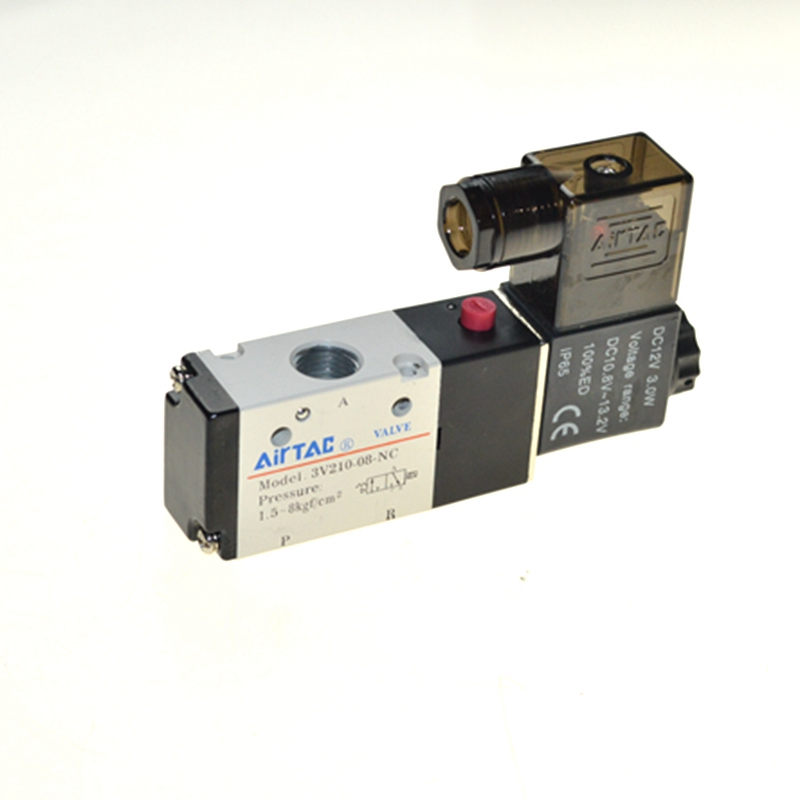 AIRTAC Type 3V210-08 3 Way 2 Position 1/4 Pneumatic Solenoid Valve airtac solenoid valve 3v220 08 3v200 series 3 2 way 1 4 bspt pneumatic air control valve