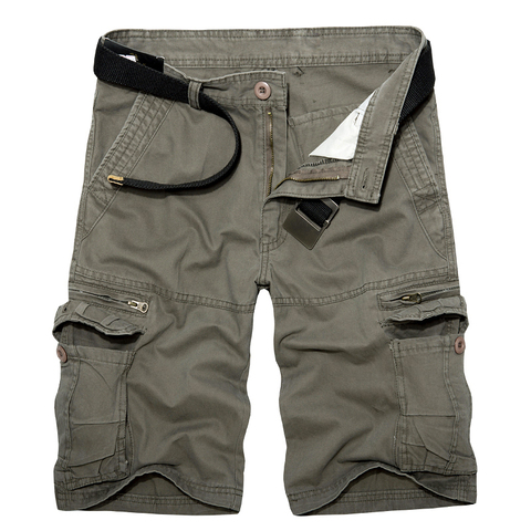 2019 Mens Military Cargo Shorts Summer army green Cotton Shorts men Loose Multi-Pocket Shorts Homme Casual Bermuda Trousers 40 Islamabad