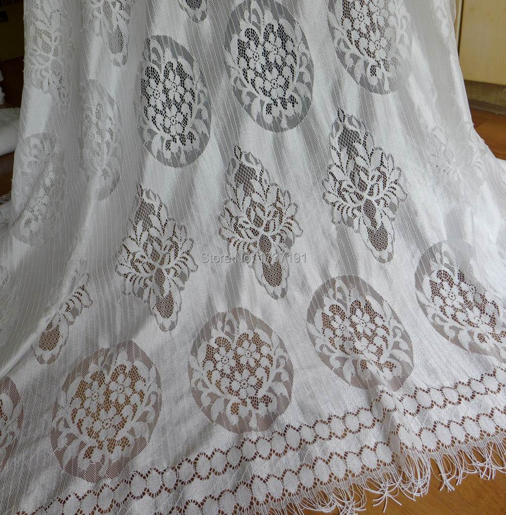 Vintage Inspired White Lace Fabric 55 inch wide For Bridal, Wedding Dress, Shawls, Cathedral Veil, Baptismal gown