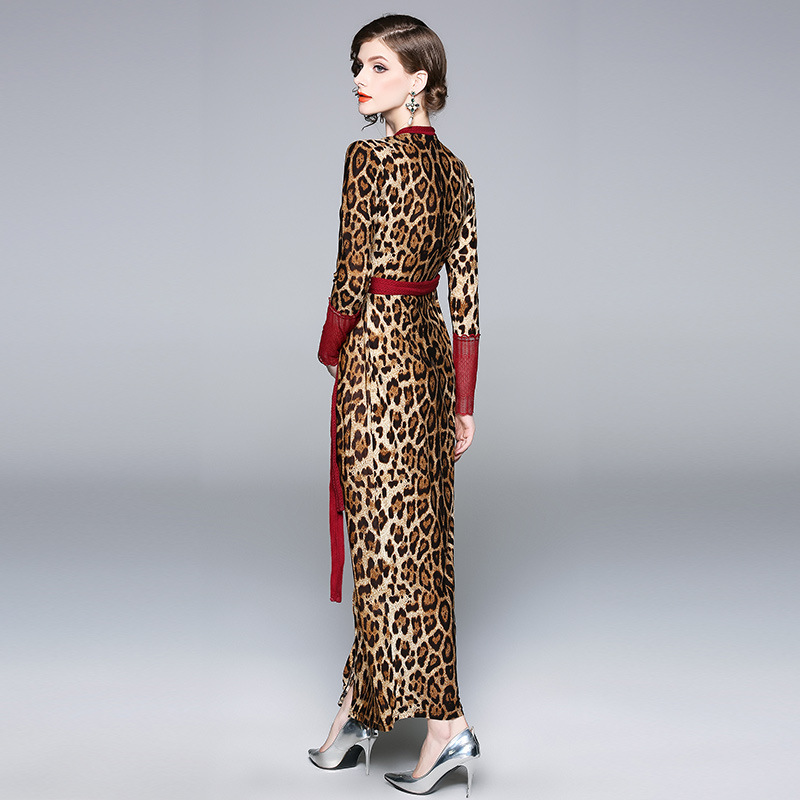 Sexy V neck leopard dress European 2018 autumn elegant slim fit long sleeve dress D499 in Dresses from Women 39 s Clothing