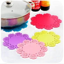 Silicone Rose Fower Kitchen Dining Table Decortion Heat Insulation Resistant Mat Pad Cup Holder Coaster Placemat Kitchen Tools(China)