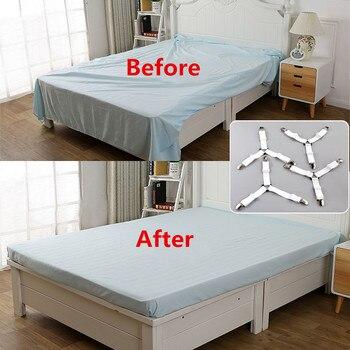 Drap de lit élastique 4 pièces/ensemble | Drap de lit, attache de ceinture, avec pince antidérapante, pince pour couverture, blanc et noir
