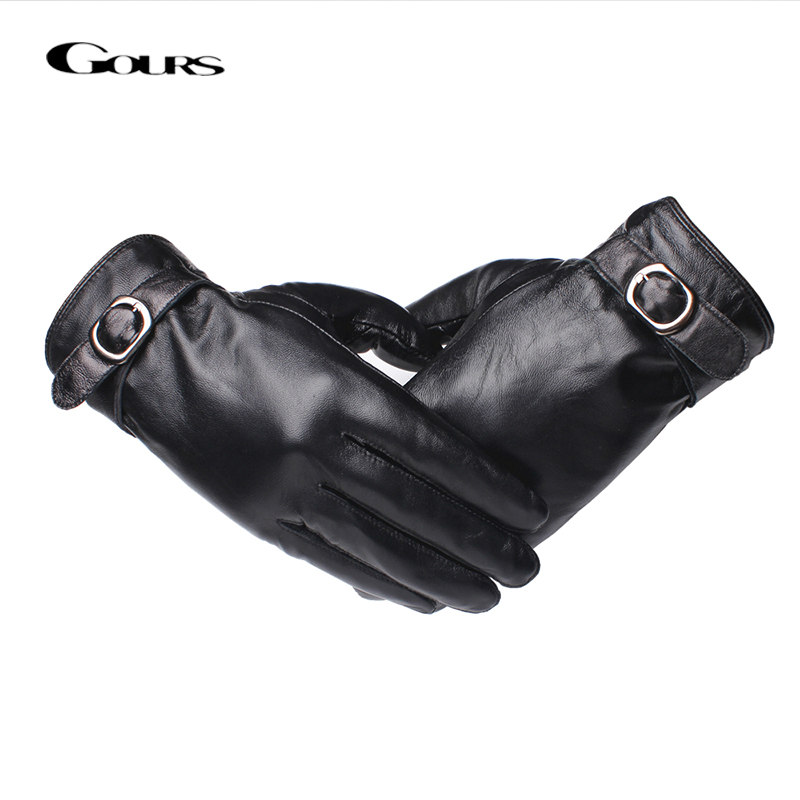 Gours Genuine Leather Gloves for Men Fashion Brand Black Touch Screen Sheepskin Finger Gloves Warm In Winter New Arrival GSM056