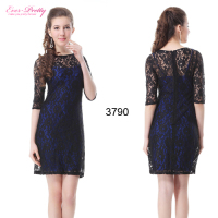 HE03790BK Round Neckline 3 4 Sleeve Lace Women Cocktail Dress 2013 New Arrive Ladies Dresses