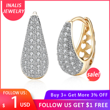 цены INALIS Elegance Inlaid Zircon Stud Earrings Water Drops Shape Champagne Gold Earrings For Women Female Jewelry