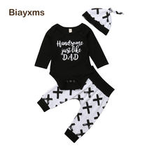 2018 3pcs Newborn Baby Boys Girls Clothing Set Cotton Tops Romper Long Pants Leggings Autumn Baby Outfits D15(China)
