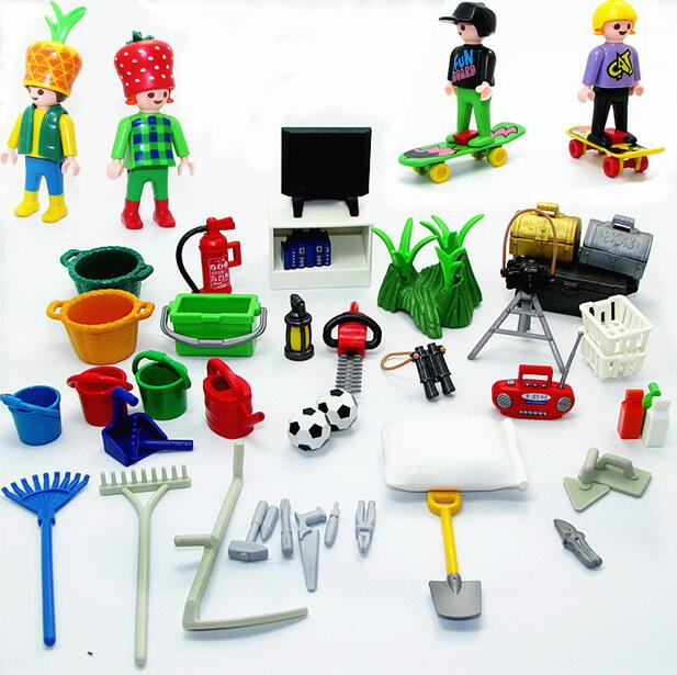 Playmobil Toys For Children Original Playmobil Accessories Toys Tools Beds TV Football Bag Bucket Desk Grass Camera Mini Toys
