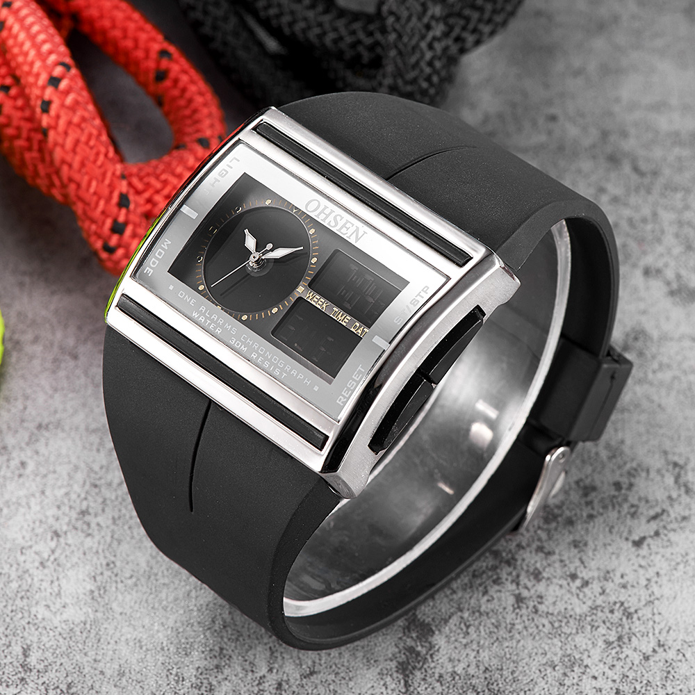 OHSEN Black Sports Watch Wristwatch Men Boy LED Digital Display 30M Water Resistant Silicone Strap Cool Fashion Watch Hours Gift
