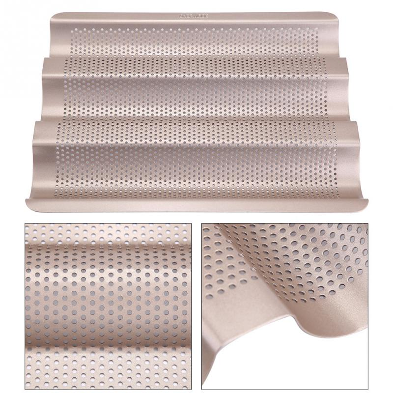 10inch French Bread Pan Baguette Baking Tray Perforated 3-slot Non Stick Baguette Baking Tray