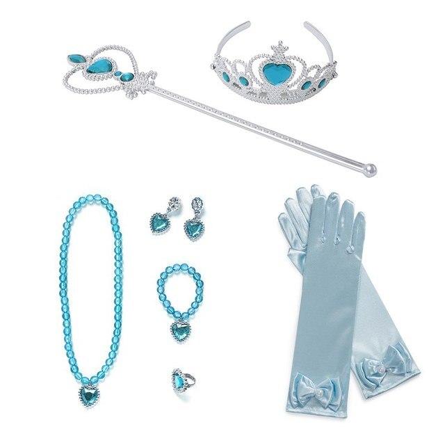 MUABABY-déguisement Elsa Sofia Belle pour filles | 9 pièces, collier, couronne baguette, gants, boucle doreille, bijoux