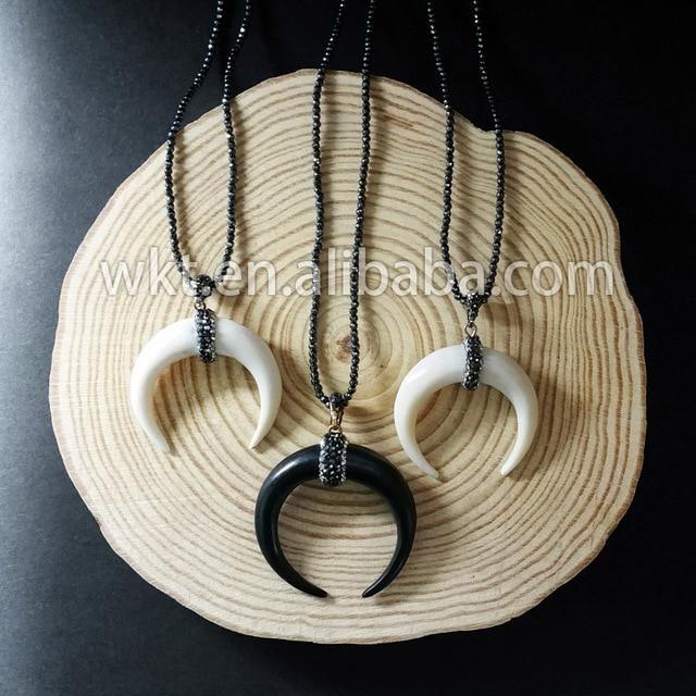 92063f47f9a4 WT-NV048 moda mano hacer blanco hueso cuerno populares hueso collar con  cuentas de cristal