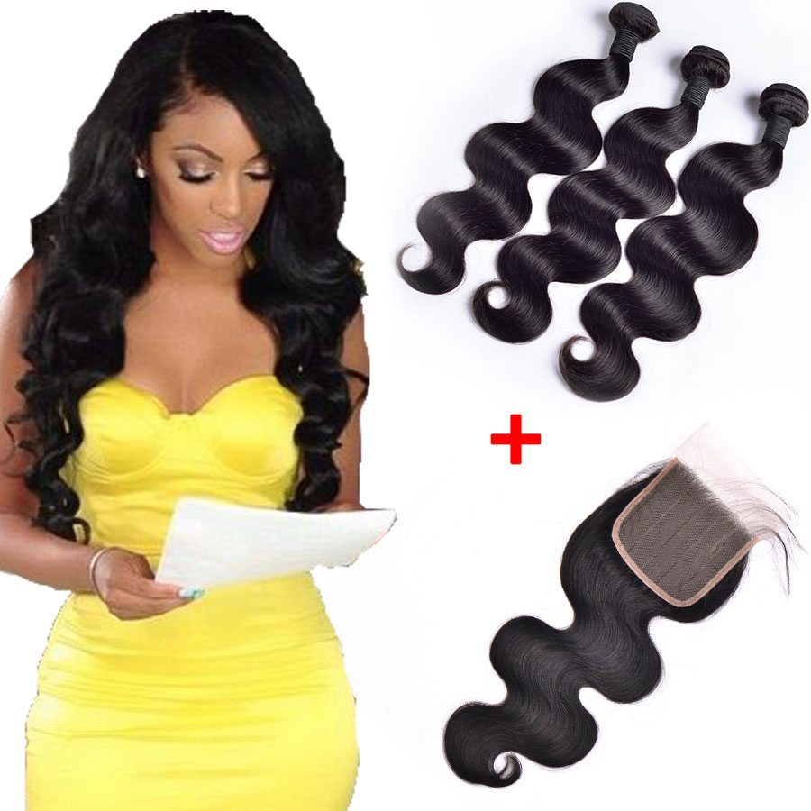 7A Malaysian Virgin Hair With Closure, Malaysian Body Wave 3 Bundles With Lace Closure With Baby Hair, 100% Human Hair Extension