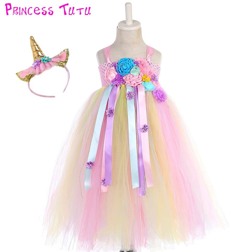 все цены на Bustle Unicorn Tutu Dress Sweet Candy Flowers Girl Birthday Party tutu Dresses Children Halloween Unicorn Costume With Headband