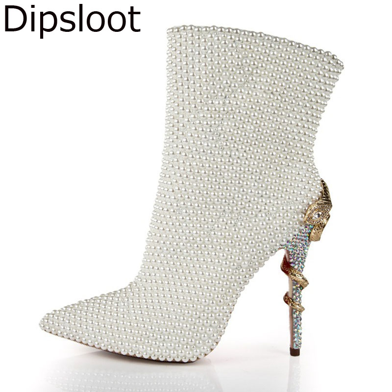 Luxury Winter Ladies Crystal Drilled Meta Snake Twined High heels Ankle  Boots Women Pearl Full Studs Pointed Toe Bottines Shoes-in Ankle Boots from Shoes  on ... f4cf3bca608c