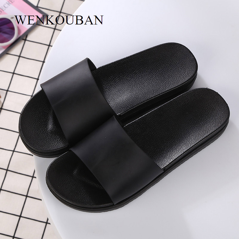 WENKOUBAN Women Beach Slippers Unisex Black Slides Summer